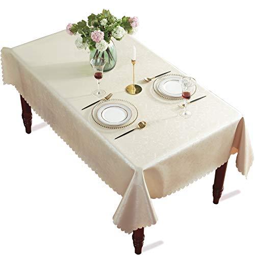 DARUITE Mantel Antimanchas Cuadrado, Impresas Elegante Flores Mantel PVC Plastico Mesa Impermeable de Comedor, Exterior, Cocina, Picnic - 160 x 160 cm, Beige Claro