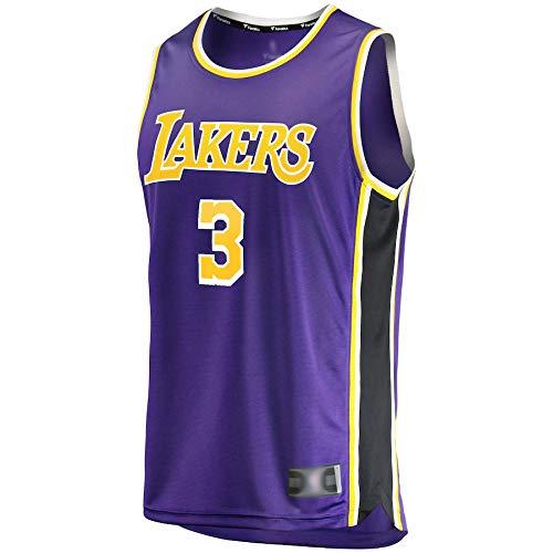 Goxegag Camiseta de baloncesto al aire libre Anthony Los Angeles NO.3 Lakers Davis Réplica de Réplica de Secado Rápido Sudadera para Hombres Edición Asociación Púrpura