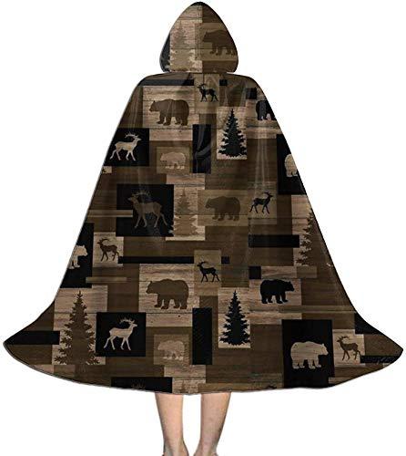 Romance-and-Beauty Capa para nios Capa rstica Lodge Bear Lodge Moose Trees Capa con Capucha Capas Cosplay
