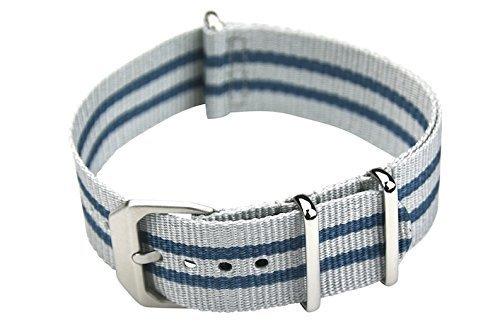 slow - Blau graues Nylonband mit silbernem Verschluss - 22mm Breite