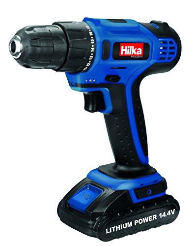 Hilka Tools PTLCDD14 Li-Ion Cordless Drill Driver, 14.4 V, Black/Blue