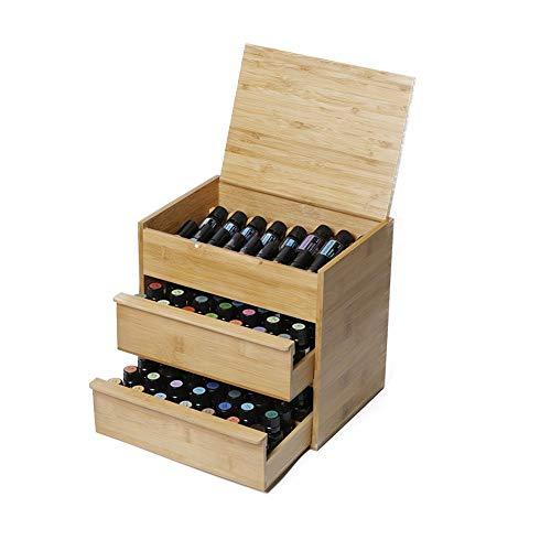 Zengqhui Huile Essentielle Boîte en Bois 88 Fente Essential Oil en Bois Boîte 3 Niveau intérieur Amovible Conseil Dit 15/10/5 Huile Essentielle Organisateur boîte en Bois