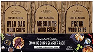Pecan, Mesquite, and Oak Wood Chips for Smoking | Smoker Accessories for Grill | & Mesquite for Grilling and Smoking Meat with Delicious Smoke Flavor