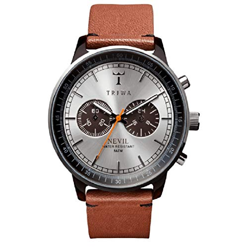 TRIWA Men's Nevil Wrist Watch with Leather Band (Havana Brown/Brown Band)