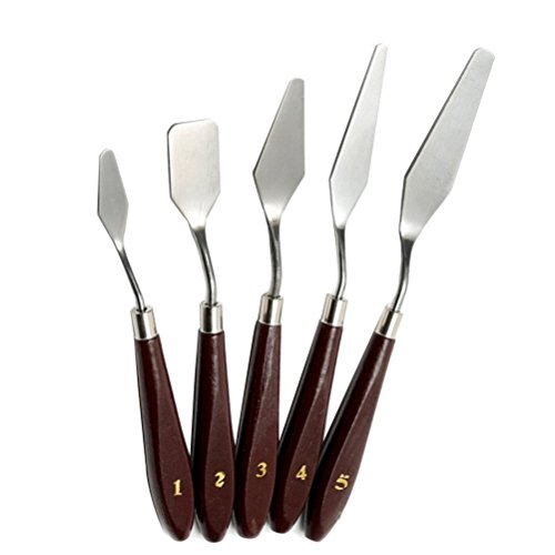 nuoshen 5 Pcs Painting Mixing Scraper, Sicai Stainless Steel Artist Paint Knife Art Spatula Paint Art