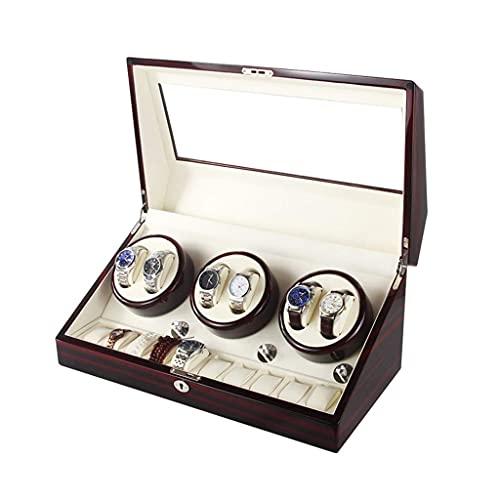 LLSS Caja enrolladora de Reloj automática, 5 Modos de rotación, Caja de presentación de Almacenamiento de 6 + 10 Relojes
