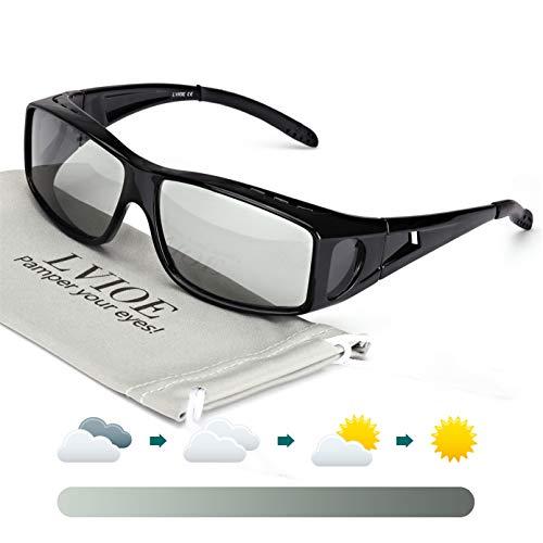 LVIOE Unisex Photochromes Polarisiert Sonnenbrille Brille Überbrille für Brillenträger, Fit-over Polbrille für Herren und Damen 100% UVA UVB Schutz (Shwarz/Photochromatisch Grau)
