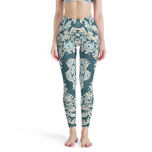 O2ECH-8 dames stijl fitness legging dames 4-weg stretch compressie high teal mandala sportbroek lopen urban leggings dames - Indiase stijl