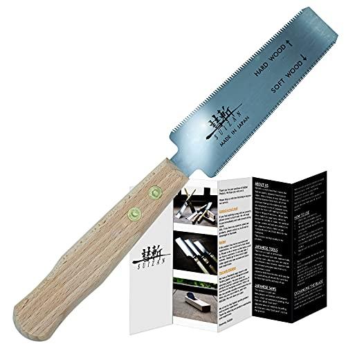 SUIZAN Sierra de mano japonesa para madera dura y madera blanda de 5 pulgadas