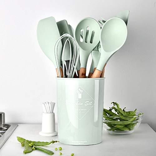 con cubo de almacenamiento Utensilios de cocina de silicona Utensilios de cocina reutilizables, Juego de utensilios de cocina de...