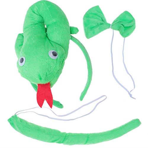 BESTOYARD Diadema de Serpiente con Cola Corbata Disfraz para Niños Adultos para Fiestas Pascua 3 Piezas (Verde)