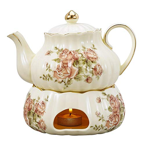 Panbado Elfenbein Porzellan Kaffee Kanne mit Stövchen, Cremefarbe, 750 ml Kaffeekanne Teekanne