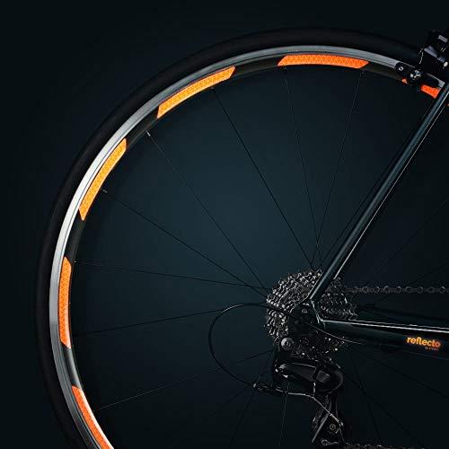 reflecto Neon Reflektoren-Aufkleber für Fahrradfelgen in gelb oder orange – 24 Streifen im Set – optimal für 27,5″ 28″ und 29″ Felgen – hochwertige Sticker aus Qualitäts-Reflexfolie (fluor-orange)
