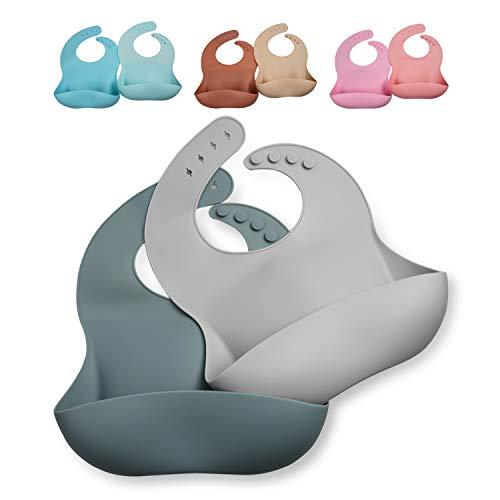 GODR7OY Silicone Baby Bib, BPA Free Waterproof Bibs, Adjustable 2PCS