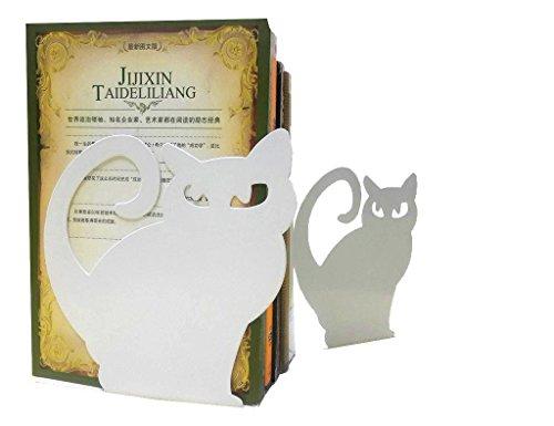 Juego de dos sujetalibros con diseño de gato persa, decorativos, de metal, color blanco