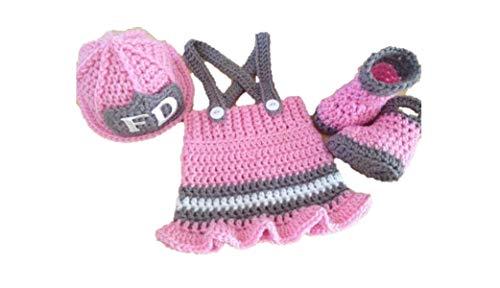 Matissa Newborn Baby Girl/Boy Crochet Knit Costume Photography Prop Hats Outfits (Little Firewoman)