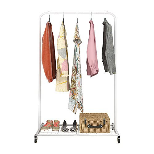 BOFENG Bold Metal Garment Rack Heavy Duty Clothes Stand Rack with Wheels Clothing Rack with Brake Clothes Coat Stand Shoes with Top Rod, Storage Shelf for Boxes Boots with Dense Mesh Shelf White