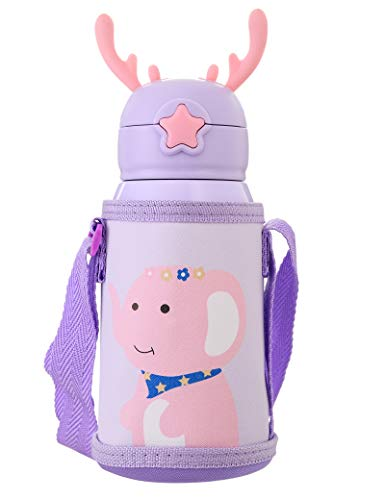 Kids Vacuum Insulated Water Bottle with Straw,20Ounce,Leak-Proof Stainless Steel Thermos for Children,Elephant Thermos,Best gifts for children's day