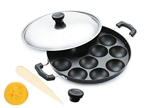 Non Stick Appam Pan with Steel Lid,12 Pits Appam Maker with Lid, Appa Chetty Paniyaram Pan Patra Tawa Non Stick set of 1,colour : Black