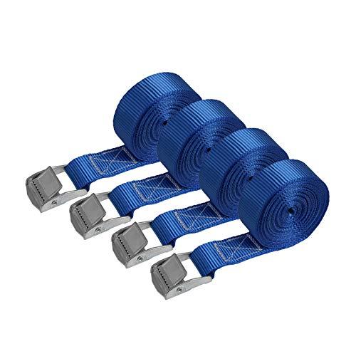 Correa de amarre cinturón de amarre con hebilla - azul - 2,5m 4m 6m - diferentes cantidades resistente a 250 kg DIN EN 12195-2, 4 piezas - 2.5 cm x 4 m