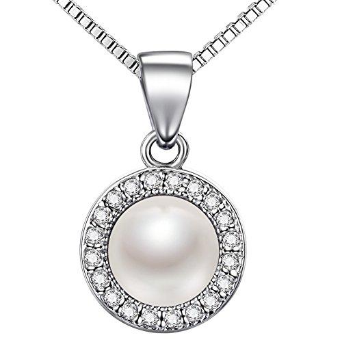 Lydreewam Perlen Kette Damen 925 Sterling Silber Halskette Anhänger Set 3A 6mm Natürliche Süßwasser Perle mit Etui Italien 45cm