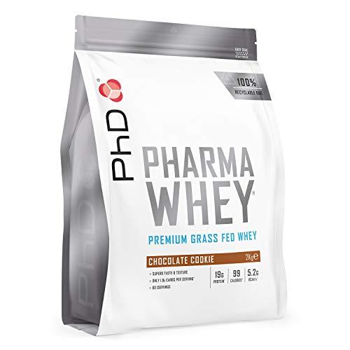 PhD PHARMA WHEY HT+ Suplemento Dietético en Polvo Rico en Proteínas para Mantenimiento y Desarrollo de Músculos Definidos, Vegetariano y Sin Gluten, Sabor Galleta de Chocolate 2kg (90 Porciones)