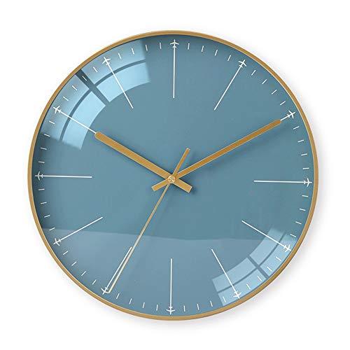 Yangmani Nórdicos Gráficos Simples Del Marco Del Oro De Cristal Azul Reloj De Pared Minimalista Relojes Electrónicos De Personalidad Creativa, Materiales Metálicos Campana Muda Del Tamaño De 35cm * 35