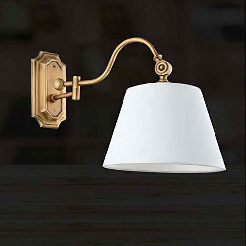 NIHE E27 chambre européenne salon d'éclairage créatif moderne et minimaliste den tissu abat-jour lampe murale en fer forgé LED