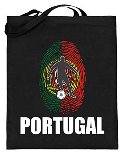 Bolsa de yute de alta calidad (con asas largas) – Camiseta del Mundial de Portugal de Rusia 2018 para los fanáticos del fútbol, diseño nacional, color Negro, talla 38cm-42cm
