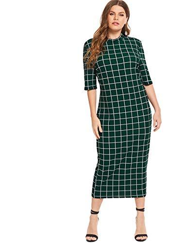 Floerns Women's Short Sleeve Plus Size Gingham Bodycon Business Pencil Dress Green 2XL