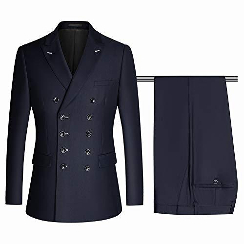 OJKYK Anzug Herren Slim Fit 2 Teilig Zweireiher Anzüge Modern Herrenanzug Sakko Hose Für Business Hochzeit,M