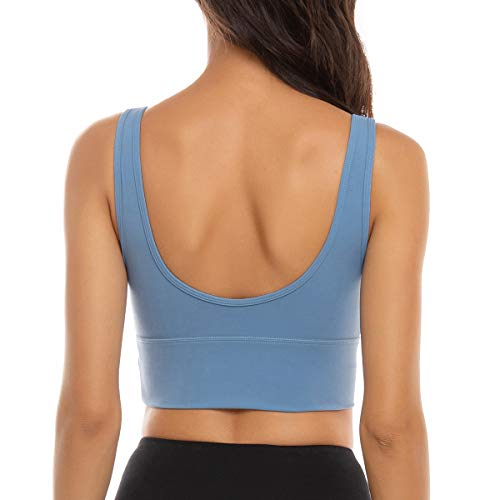 FORLAND Crop Top Sports Bras for Women - Womens Longline Sports Bra High Support Workout Yoga Bra Tops,Sky Blue,XX-Large