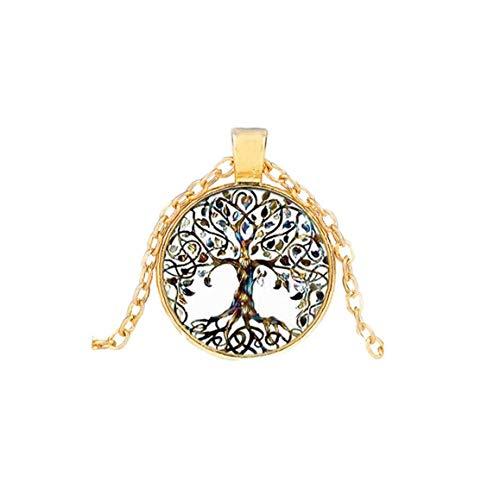 La vita della collana dell'albero Tempo gemma madreperla Collana lunga catena Benedizione collane d'oro decorazione dei monili Vintage Ladies'