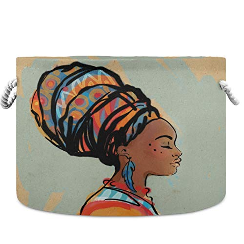 visesunny Storage Basket Beautiful African Woman With Earring Nursery Hamper Basket Clothes Toy Storage Organizer Bin Box Collapsible Laundry Bag for Kid Room,Playroom,Bathroom,Living Room,Dorm,Office