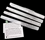 Dancing Bear Selenite (4) Large Sticks, Approx. 6-8' Long Wands Plus Free Fluorite Octrahedron Crystal and Educational ID Cards for Wholesale, Bulk, Reiki, Chakra, Healing, Good Luck, and Protection
