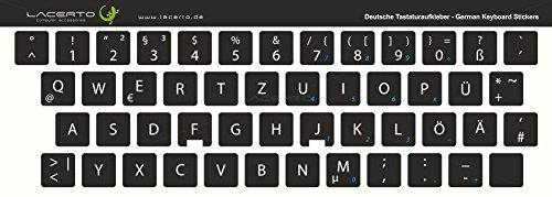 Lacerto® | 13x13mm Deutsche Aufkleber für PC/Laptop & Notebook Tastaturen mit mattem kratzfestem Laminat, Germany Keyboard Stickers QWERTZ | Farbe: Schwarz