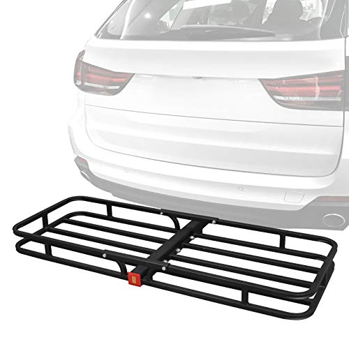 "F2C Universal 53"" x 19"" Hitch Mount Cargo Carrier Basket Rack Hauler Baggage Luggage Carrier Storage for SUV Camping Travel W/ 2"" Hitch Receiver- 500lbs Capacity, Black Steel"