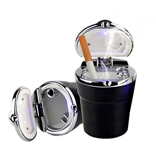 Romote Auto-Aschenbecher Deckel - Tragbare Auto Auto Aschenbecher mit LED-Licht, rauchfreien Hause/Büro / Reiseaschenbecher (schwarz). Medium Schwarz