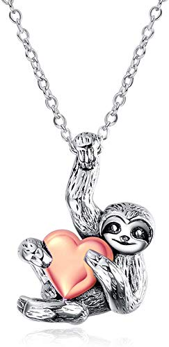 Sterling Silver Sloth Pendant Necklace Inspired Animal Jewellery for Women Girls (Vintage with Rose Gold Heart)