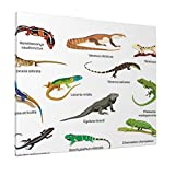 M-shop Pintura 40,6 x 50,8 cm, diseño familiar de lagartos sobre fondo liso Primitivo Reptiles Camuflaje criaturas exóticas Casa Multi Panorámica Lienzo Arte de pared