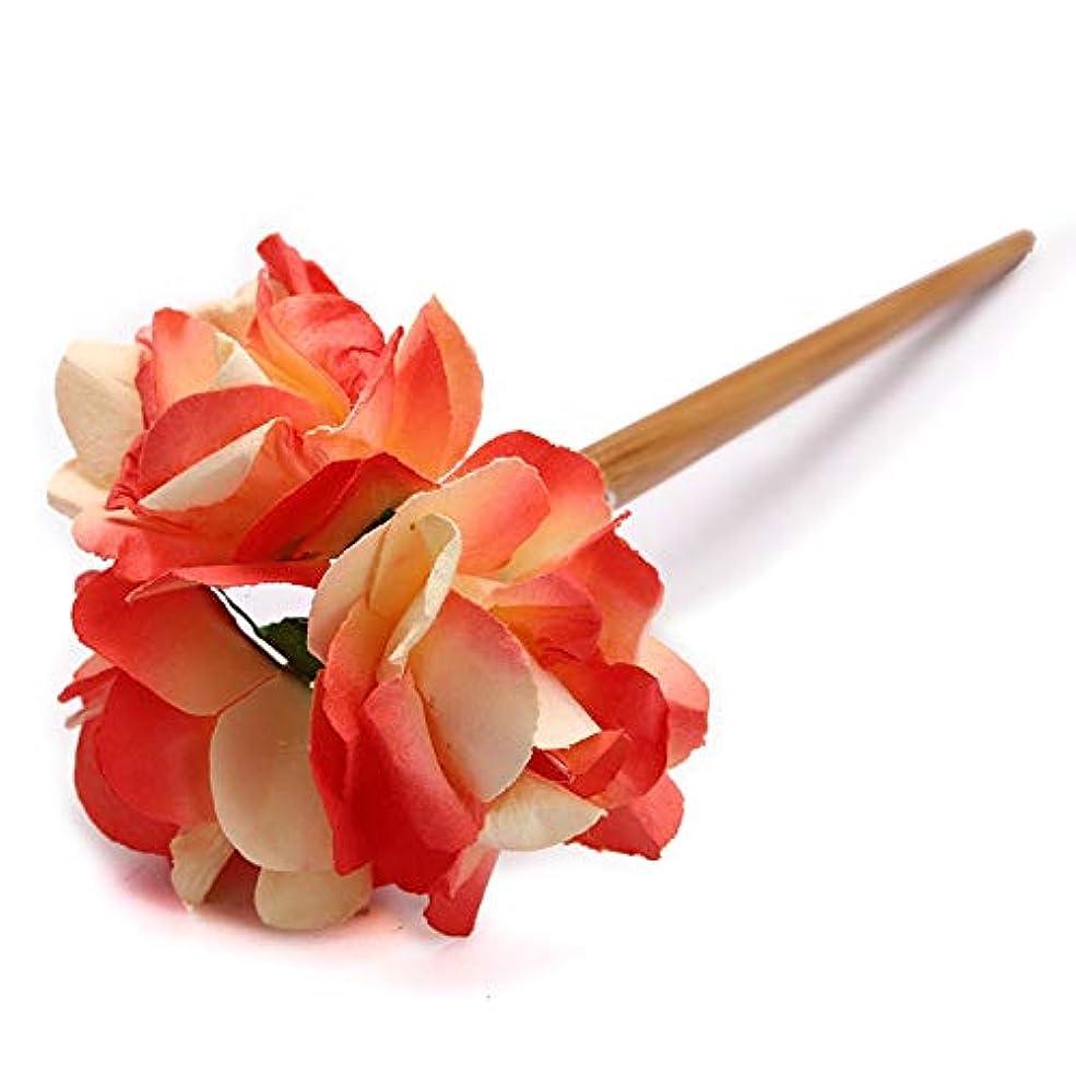 インレイ未就学飛躍HuaQingPiJu-JP クラシックフラワーヘアクリップマニュアル宮殿の婚礼アクセサリーエレガントなコートヘアクリップギフト(赤)