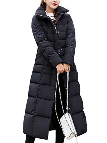 ORANDESIGNE Damen Warm Winterjacke Parka Jacke Mantel Lange Mit Fellkapuze Steppjacke Wintermantel Schwarz DE 44