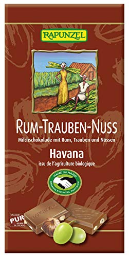 Cioccolato al latte con uvetta, rum e nocciole Fair Trade Bio 100 g - Rapunzel