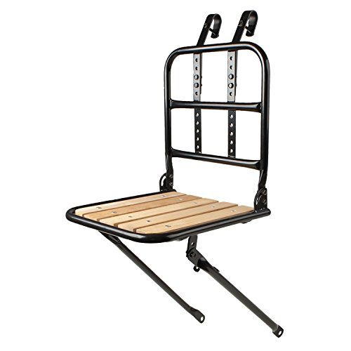 Cicli Bonin Adjustable Steel Front Rack with Wooden Base, Portapacchi Unisex-Adulto, Nero, Taglia unica