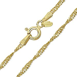 Amberta 925 Sterlingsilber 18K Vergoldet Damen-Halskette - Singapurkette - 1.3 mm Breite - Verschiedene Längen: 45 50 70 cm (50cm)