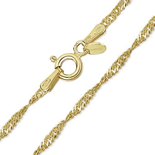 Amberta 925 Sterlingsilber 18K Vergoldet Damen-Halskette - Singapurkette - 1.5 mm Breite - Verschiedene Längen: 40 45 50 55 60 70 cm (50cm)