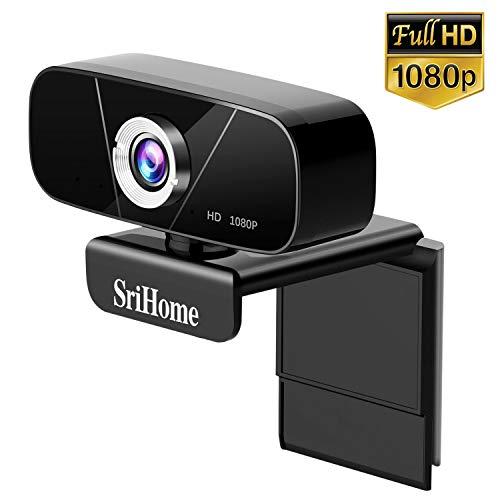 Srihome Webcam USB 1080P, Lemnoi Webcam pour PC avec Microphone pour Ordinateur Portable de Bureau pour Appels Vidéo, études, Conférence, Enregistrement, Jeux, avec Clip Rotatif