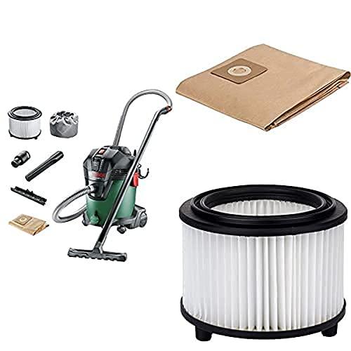 Bosch Home and Garden 06033D1200 Aspiradora, 1200 W, Verde + Bolsa de Papel para Aspirador, 0 W, 0 V, Set de 5 Piezas + Filtro de Pliegues