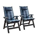 Homeoutfit24 Donau - Cojín Acolchado para sillas de jardín, Hecho en Europa, Respaldo Alto, Poliéster, Resistente a los Rayos UV, Relleno de Espuma, 120 x 50 x 6 cm, 2 Unidades, Azúl