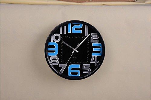 NIHE 2017 nouvelle personnalité simple, salon en alliage d'aluminium de haute qualité des montres numériques élégante horloge murale de chambre (30cm) , Black